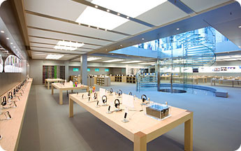 Inside the Apple store.