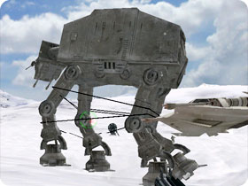 AT-AT gets its legs tied.