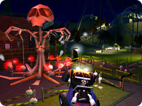 A skull themed swing ride.