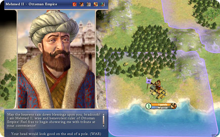Mehmed II starting his civilization.