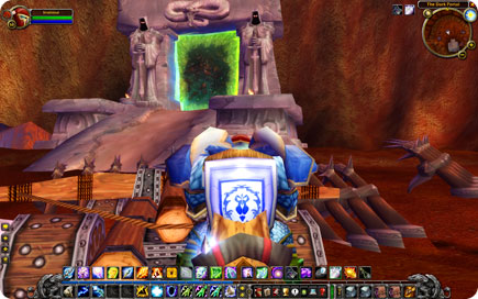 Draenei heading towards a portal.