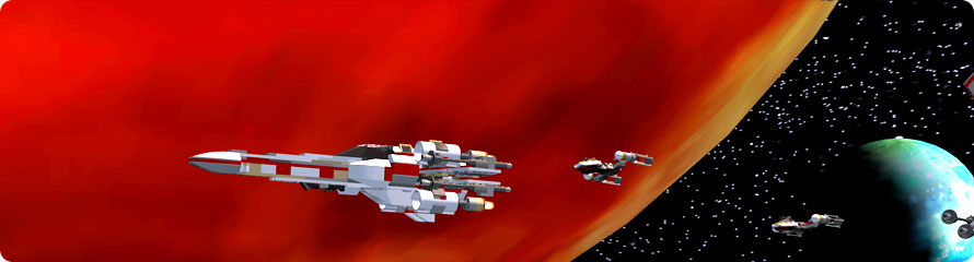 Rebel ships flying past planets.