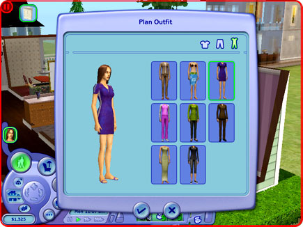 Choosing clothes menu.
