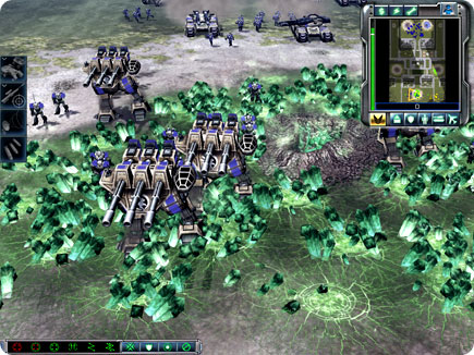 Units marching through green tiberium.