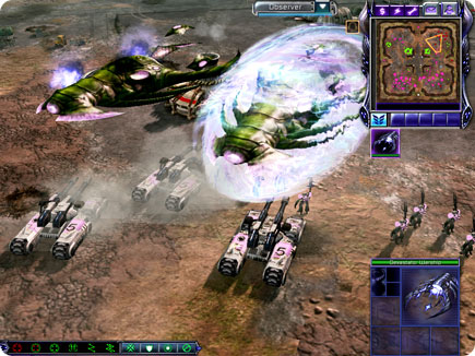 Alien units fighting artillery.