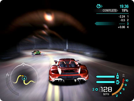 Cars racing in tunnel.