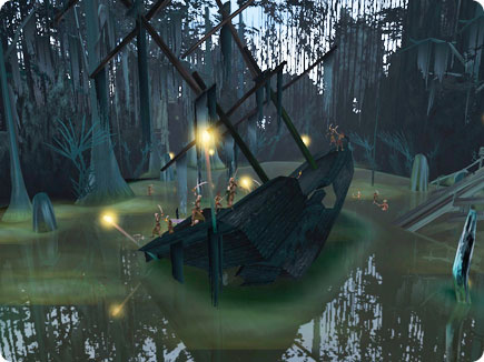 Wrecked ship in a swamp.