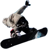 Snowboarder catching air.