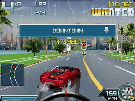 Asphalt 4: Elite Racing gameplay area.