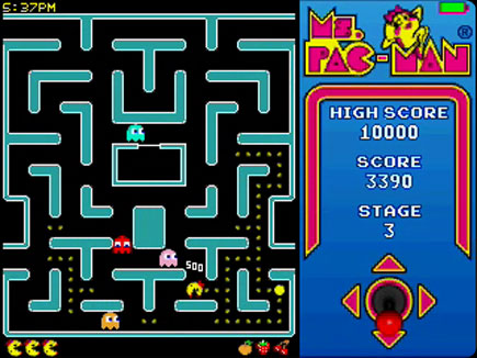 Ms. PAC-MAN gameplay area.