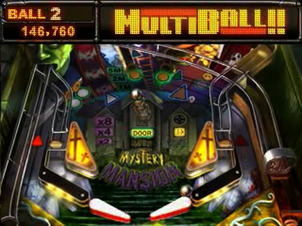 Mystery Mansion Pinball gameplay area.