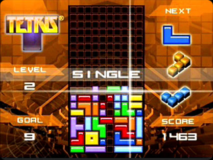 Tetris gameplay area.
