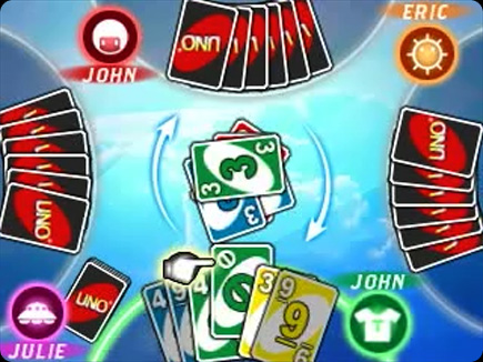 UNO gameplay area.